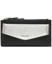 Nine West Double Zip Wallet With Pouch Black Silver