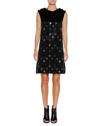 Emporio Armani Sleeveless Embellished A Line Mini Cocktail Dress Black