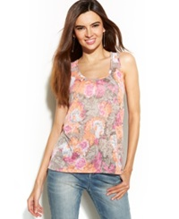 Inc International Concepts Printed Rhinestone Tank Top