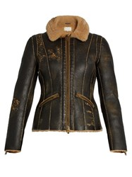 Maison Martin Margiela Distressed Shearling Aviator Jacket Brown Multi