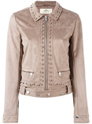 Urbancode Studded Cropped Jacket Women Polyester 10 Brown