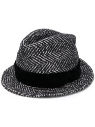 Dolce And Gabbana Striped Trilby Hat Black
