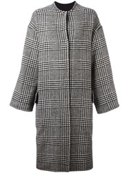 Ava Adore Houndstooth Pattern Coat Black