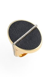 Women's Rachel Zoe 'Alana' Leather Ring Gold Black Leather