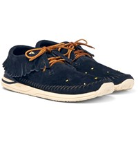 Visvim Maliseet Shaman Folk Beaded Suede Sneakers Navy