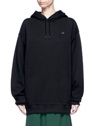Acne Studios 'Yala' Emoticon Patch Fleece Lined Hoodie Black