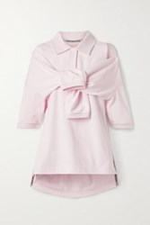 Alexander Wang Tie Front Cotton Jersey Polo Shirt Baby Pink