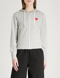 Comme Des Garcons Logo Embroidered Cotton Jersey Hoody Grey