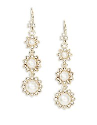 Marchesa Crystal Pave Faux Pearl Linear Drop Earrings Gold