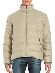 Corneliani Quilted Goose Down Jacket Light Grey