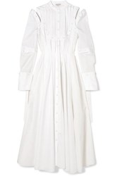Alexander Mcqueen Cutout Pleated Cotton Poplin Dress Cream