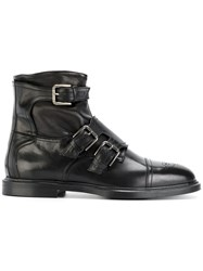 Dolce And Gabbana Buckled Ankle Boots Black