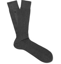 Tom Ford Embroidered Ribbed Cotton Socks Gray