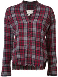 Greg Lauren Cropped Frayed Checked Shirt Women Cotton 3 Red