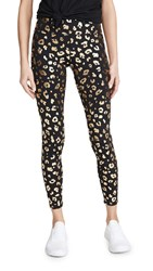 Terez Tall Band Leggings Gold Cheetah Foil