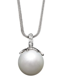 Macy's 14K White Gold Necklace Cultured South Sea Pearl 14Mm And Diamond Accent Pendant Black