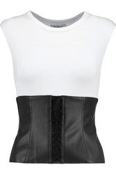 Bailey 44 Lace Up Faux Leather Trimmed Jersey Top White