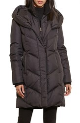 Lauren Ralph Lauren Women's Quilted Hooded Coat With Knit Trim Black