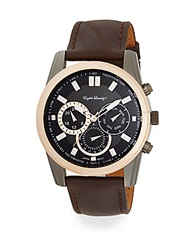 English Laundry Two Tone Stainless Steel Chronograph Brown Leather Strap Watch Brown Rose Gold