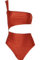 Haight Lu One Shoulder Cutout Swimsuit Light Brown