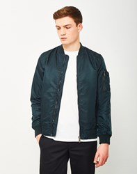 The Idle Man Lightweight Ma 1 Nylon Bomber Jacket Teal
