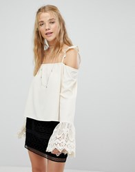 Kiss The Sky Cold Shoulder Strappy Top With Lace Fluted Sleeves Cream