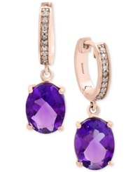 Effy Viola Amethyst 3 1 2 Ct. T.W. And Diamond Accent Drop Earrings In 14K Rose Gold