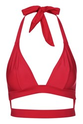 Wolf And Whistle Fuller Bust Triangle Bikini Top By Red