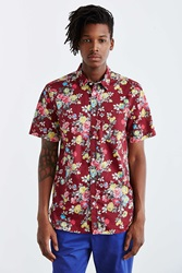 Your Neighbors Rose Floral Button Down Shirt Maroon