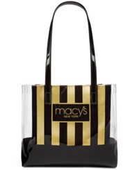 Macy's Stripe And Clear Tote Created For Black Gold