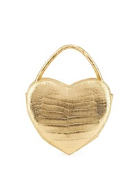 Nancy Gonzalez Heart Shaped Metallic Crocodile Crossbody Bag Yellow