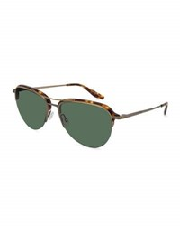 Barton Perreira Airman Half Rim Aviator Sunglasses Chestnut Antique Golden