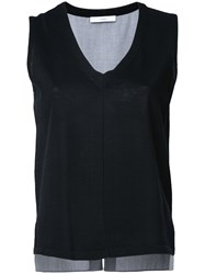 Astraet V Neck Knit Tank Women Cotton One Size Black