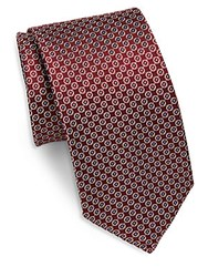 Saks Fifth Avenue Dotted Silk Tie Red