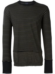 Lanvin Striped Panel Jumper Black