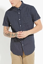 Forever 21 Polka Dot Shirt Navy Red