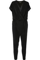 By Malene Birger Alendria Satin Paneled Stretch Crepe Jumpsuit Black