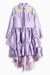 Natasha Zinko Ruffle High Low Skirt Dress Purple