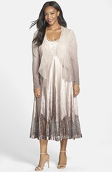 Komarov Charmeuse And Lace A Line Dress With Chiffon Jacket Plus Size Vintage Cafe Ombre