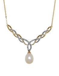 Lord And Taylor Diamond 7Mm Freshwater Pearl 14K Yellow Gold Pendant Necklace