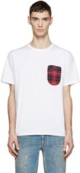 Mostly Heard Rarely Seen White Plaid Pocket T Shirt