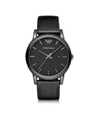 Emporio Armani Luigi Polished Black Stainless Steel Men's Watch W Smooth Leather Strap