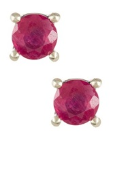 Sterling Silver Ruby Stud Earrings No Color