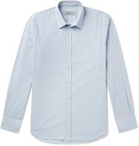 Canali Slim Fit Puppytooth Cotton Shirt Blue