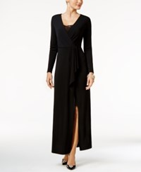 Thalia Sodi Draped Lace Trim Gown Only At Macy's Deep Black