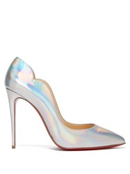 Christian Louboutin Hot Chick 100 Leather Pumps Silver
