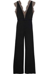 Catherine Deane Woman Hessa Lace Trimmed Pleated Stretch Jersey Jumpsuit Black