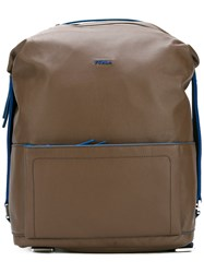 Furla Open Front Pocket Backpack Brown