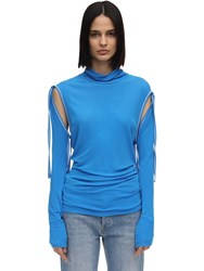 Atlein Lvr Exclusive Top W Detachable Sleeves Blue