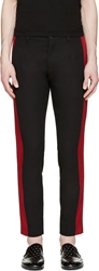 Dolce And Gabbana Black And Red Banded Trousers